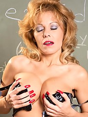 Mature professor stripping in her sex education class